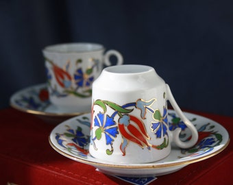 Traditional Turkish Coffee Set from Istanbul, Turkish Coffee Cup and Saucer Porcelain Hand-Painted, Boho Chic Decor