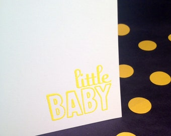 Baby Folded Note Cards and Envelopes - Yellow and White - Set of 8