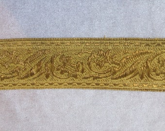 Vintage Trimming Gold 2.18 Yards Curtains, Sewing Supply, Pillows Antique French