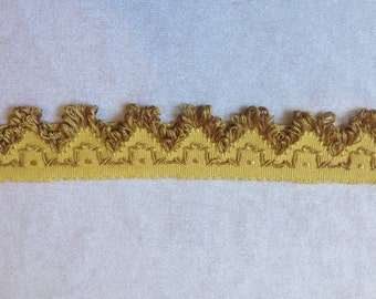 Vintage Trimming Gold Fringe 2.18 Yards Curtains, Sewing Supply, Pillows Antique French