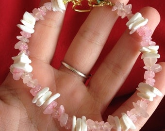 Rose Quartz and Raw Shell Bracelet with Heart Clasp