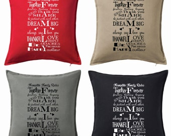 Custom Personalised Cushion Pillow Family Rules Decal Gift Keepsake Heirloom