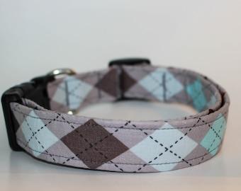 Dog Collar Argyle Pattern, grey argyle pattern, Blue and black, boy dog collar