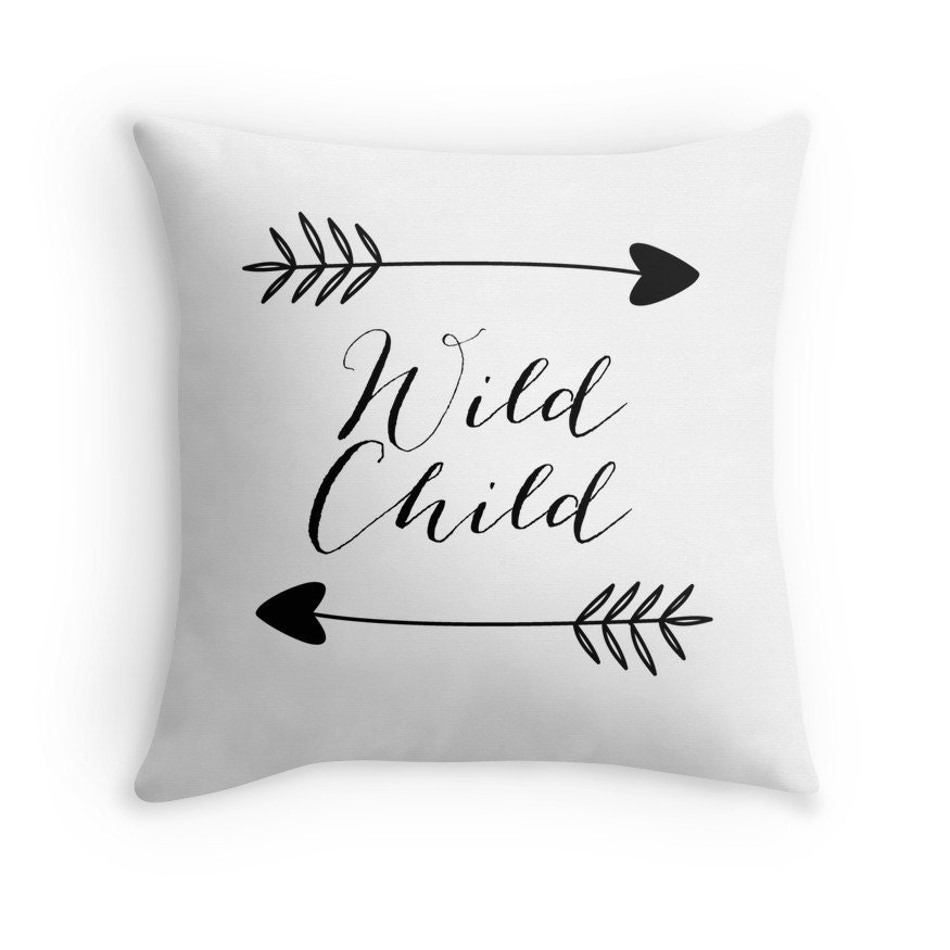 Wild Child Pillow Cover White Arrows Boho Decor Hippie