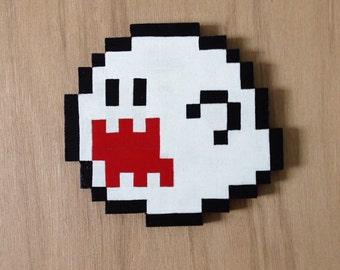 Wall hanging handmade pixel art - Boo the ghost from Mario.