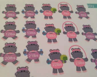 Little Hippo Weight Lb or Kg Loss Tracker stickers -  for your EC planner
