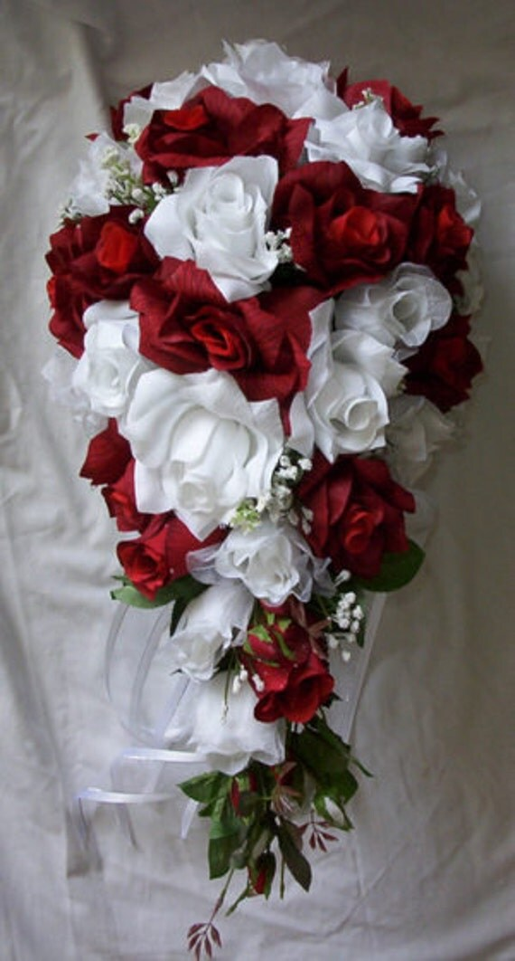 cascading wedding bouquets silk cascade wedding bridal bouquet and white 2490