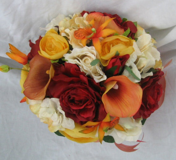 Wedding bridal bouquet Orange, red, yellow and ivory 2 pc free toss