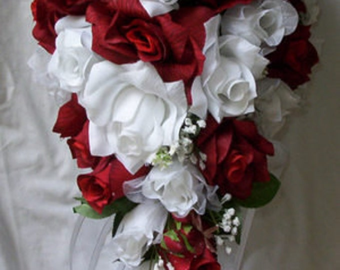 Silk Cascade wedding bridal bouquet red and white 2 pcs