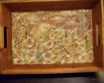 Painting on a wooden tray