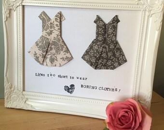 Framed Origami dress art.