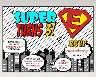Comics Book Superhero PopArt Birthday Party Printable Super hero Invitation  #486