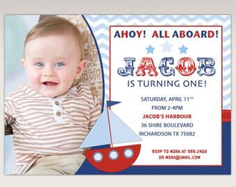 Nautical Boat Birthday Party printable Photo invitation