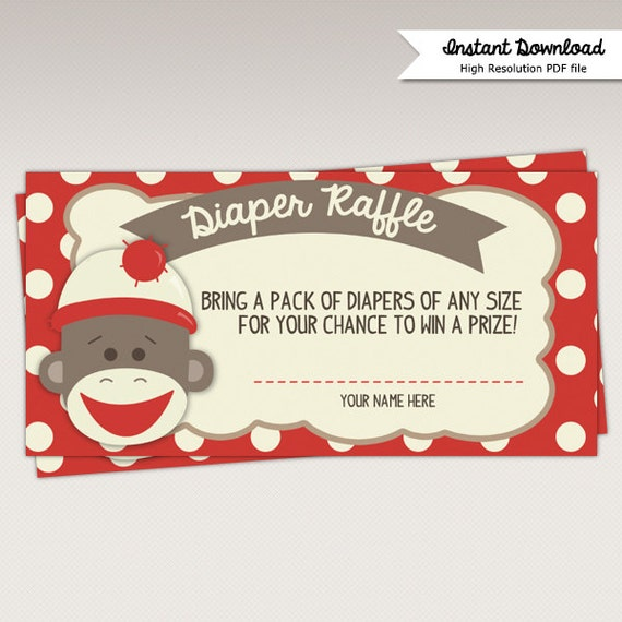 Instant Download Sock Monkey Baby Shower Diaper Raffle Card
