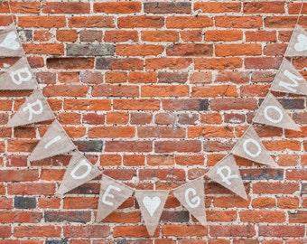 BRIDE & GROOM With Hearts Bunting - Handmade Wedding Decoration Burlap / Hessian Bunting Shabby Chic Rustic Banner
