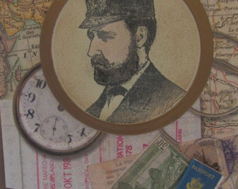 Vintage Ship's Captain portrait, over world map, note card for any occasion, map lined inside