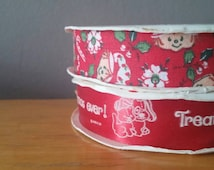 "Vintage Strawberry Shortcake Ribbon 1980, 2 rolls, ""Treat yourself to the Merriest Christmas Ever"", 18' each, red decorative ribbon"