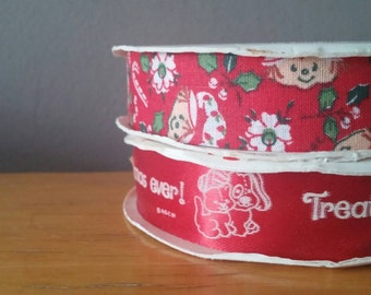"""Vintage Strawberry Shortcake Ribbon 1980, 2 rolls, """"Treat yourself to the Merriest Christmas Ever"""", 18' each, red decorative ribbon"""