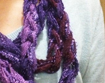 Purple shimmery crocheted rope scarf