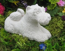 Angel  Schnauzer dog concrete statue , cement .  collectibles, memorial.  yard and garden decor. headstone, pet marker.  Pets