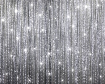 20ft x 10ft Grand Duchess Sequin and Chiffon  Backdrops - Silver,Curtain Ceremony Backdrop,Wedding Decorations,Wedding Ceremony Backdrop