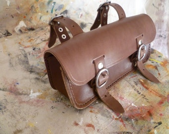 Genuine Leather, hand stitched, bicycle tool bag, saddlebag.
