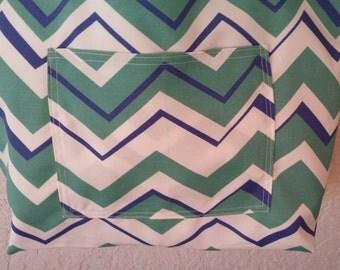 Seafoam Green Blue Tote Beach Canvas Bag