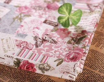 """Cotton Linen Fabric Peony Flower With Butterflies Quilting Home Decor Sewing Fabric 1/2 yard 18""""X58"""" C02"""