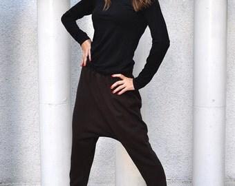 Loose Casual Brown Maxi Drop Crotch Harem Pants, Plus Size Harem Pants, Extravagant Drop Crotch, Brown Trousers by EUGfashion - PA0739PM
