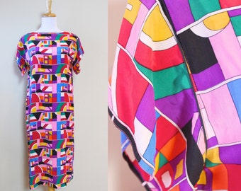 Geometric Shift Dress / Vintage Bold Graphic Print Dress