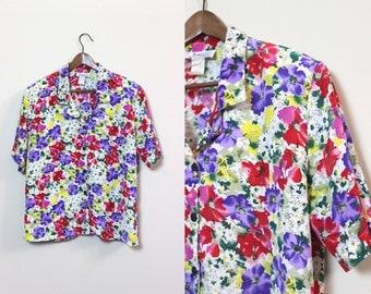 Vintage Floral Button Up Shirt / Wild Flower Blouse