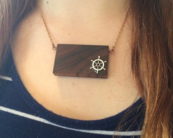 Pendant Necklace by Morado with bar boat neck and brass chain