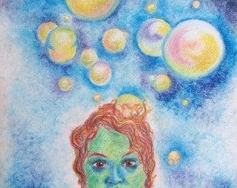 Surreal Bubbles Portrait Art Print