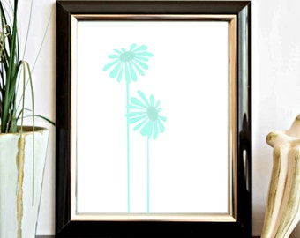 Mint Green Flower Printable Wall Decor - Floral Print - Office Wall Art - Nursery Decor - Instant Download