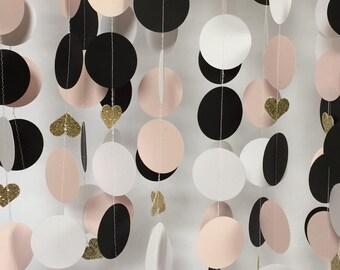 Wedding, Bridal Shower Decorations, Paper Garland, Pink, Black, Gold Glitter