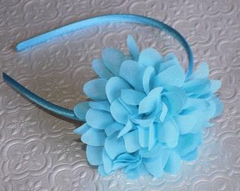 Handmade Sky Blue chiffon flower hard headband or hair-clip. Photo Prop for Babies/Toddlers/Teens/Girls/Women