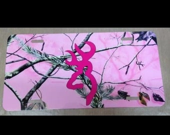 Pink Camouflage browning buck pink License plate pink camouflage pink browning buck car tag new
