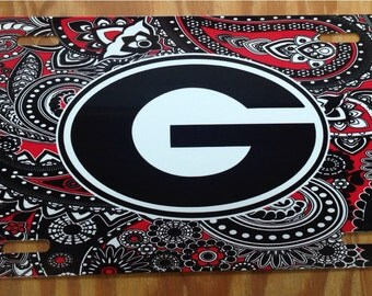 UGA Georgia bulldogs red black paisley metal car tag university of georgia new license plate