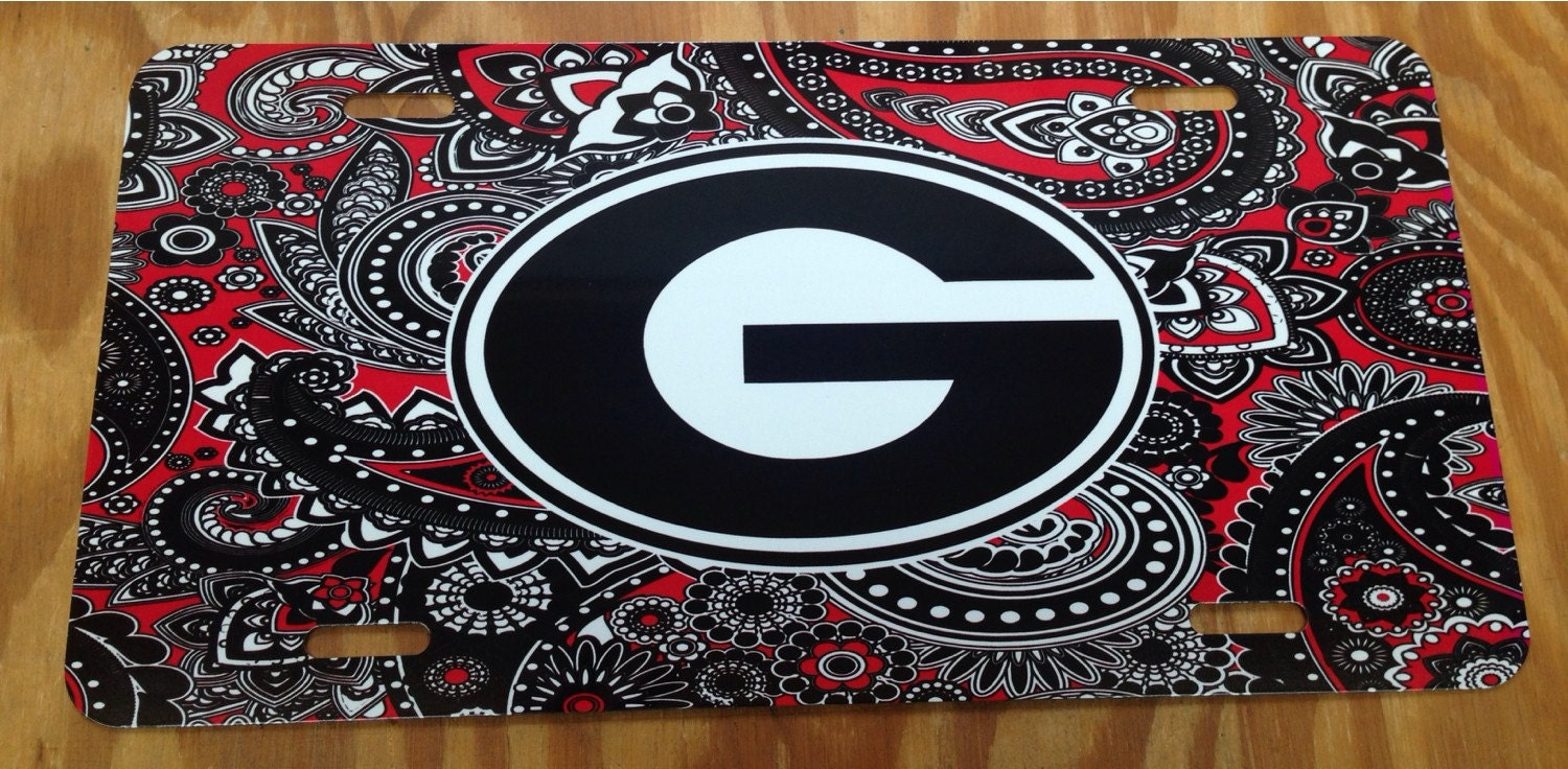 Superieur UGA Georgia Bulldogs Red Black Paisley Metal Car Tag University Of Georgia  New License Plate