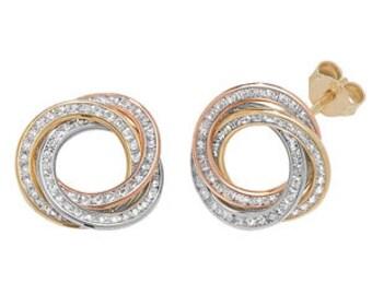 3 Tone CZ GOLD Rose Yellow White  Unique Swirl Stud Earring -R4U-ES172