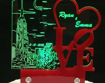 Cake topper New York LOVE, with LED light for weddings by AcryLEDdesigns