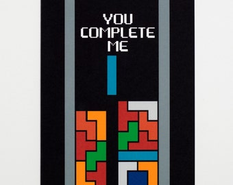 You Complete Me - Tetris Love Greeting Card - FREE SHIPPING