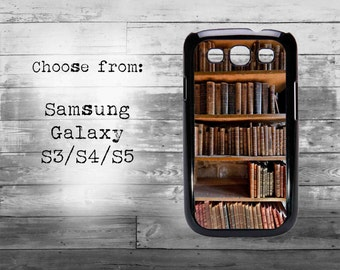 Vintage style bookshelf phone cover - Samsung Galaxy S3/S4/S5/S6/S7 case - bookshelf samsung galaxy case