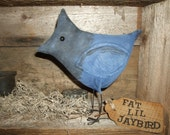 Primitive Fat Lil Stellers Jay Bird for SPRING  Free Standing Ornie, OFG HAFAIR Teams