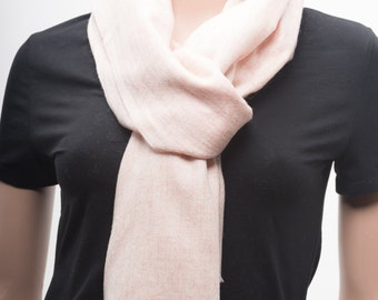 Handwoven Cashmere Scarf, Light Pink Color