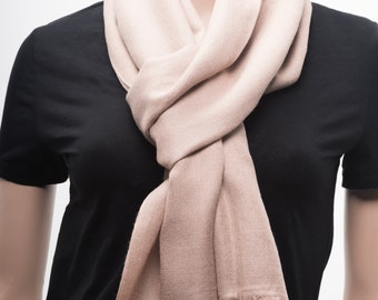 Handwoven Cashmere Scarf, Brown Color