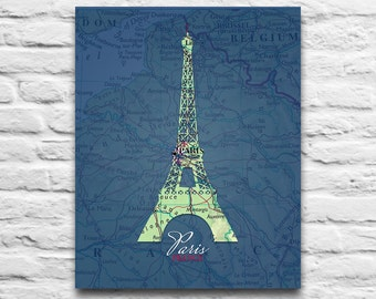 Paris France Eiffel Tower Vintage Map DIGITAL DOWNLOAD for you 2 Print, wall decor art print diy printable,gift, 8x10 11x14