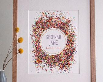 Custom Sprinkles Print - Nursery Art - Wedding Print - Add You Names/Date of Your Choice