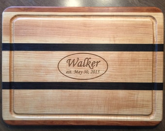 Personalized Hardwood Cutting Board with Juice Groove.