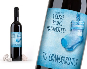 Being Promoted To Grandparents Announcement Wine Bottle Label! Baby Announcement, Announce your new Baby, Tell Mom and Dad